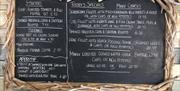 Blackboard Specials, Chef Specials, dinner, book online, the boatyard, peel, dining out, eat out, seafood, meat, vegetarian, vegan