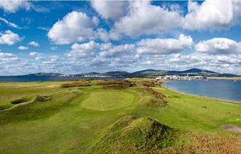 Isle of Man golf course with scenic coastal backdrop