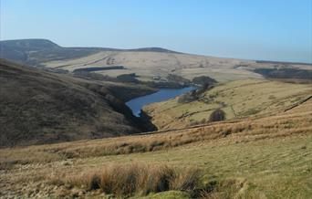 Sulby Reservoir and surrounding hills