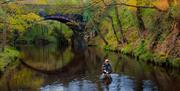 Fly fishing at Glenfaba Bridge, River Neb