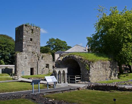 The grounds and ancient ruins at Rushen Abbey
